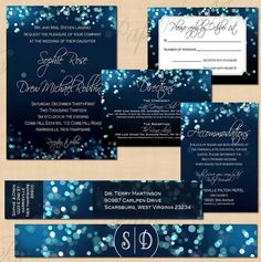 Blue Bokeh Night Sky Editable Invitation Suite, RSVP, Inserts, Address Label, and Belly Band - Instant Download