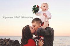 Christmas family photo on the beach