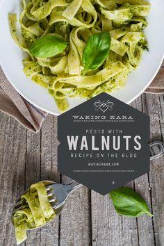 Basil walnut pesto made with honey from Waxing Kara's kitchen Walnut Recipes, Honey Recipes, Good Healthy Recipes, Pesto With Walnuts Recipes, Basil Walnut Pesto, Make Hummus, How To Make Pesto, Pesto Recipe, Fresh Herbs