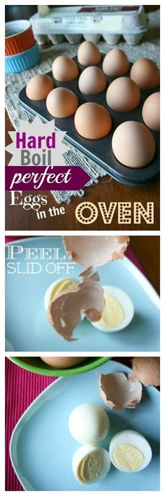 Ok people. This is a game changer. Best hard boiled eggs EVER! Place eggs in muffin tin to keep from rolling and bake at 325 degrees for 30 minutes. Then place in iced water for 10 minutes. Shells practically fall off.