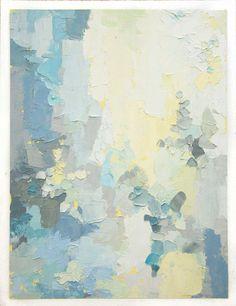Volver a la vida - pintura al óleo originales en pastel aireado luz azul y amarillos (35 x 45 cm - aprox. 14 x 18 pulgadas)