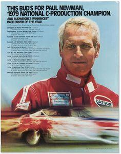 Paul Newman Budweiser Racing Poster