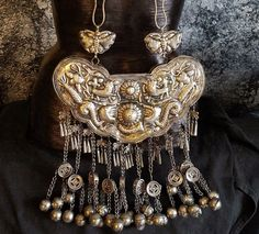 Exotic Miao Silver Ceremonial Necklace Chinese Jewelry Hmong Tibetan Tribal Necklace Ornate Ethnic Statement Necklace Guizhou Province by KATROXWEARATTITUDE on Etsy