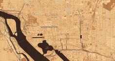 Woodcut Maps, Washington, D.C by Mapbox, via Flickr