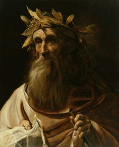 Poet Homer, Painting by Caravaggio, Italian, 1571 - 1610 Poet Homer is best known as the author of the Iliad and the Odyssey, The Greatest Ancient Greek Epics & first known literature of Europe, his period is around 850 BCE.
