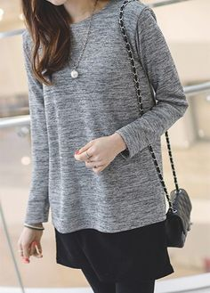 061f2c0577e Grey Long Sleeve Back Slit Patchwork Blouse on sale only US$30.16 now, buy  cheap