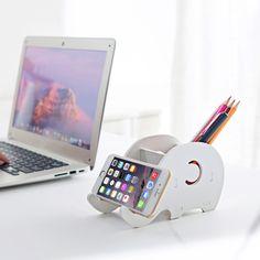 Office Deskto, Creative Cute Elephant Phone Holder, Stand for Smartphone Pen