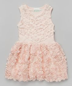 Look at this Peach Rosette Pearl A-Line Dress - Toddler & Girls on #zulily today!