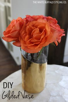 DIY Gilded Vase from thewhitebuffalostylingco.com via MakelyHome.com