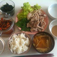 【7/16・Lunch】豚しゃぶ、みそ汁、青のり、松前漬