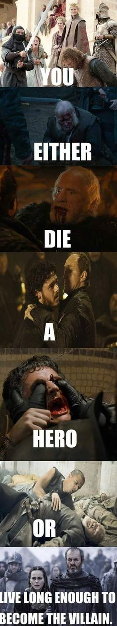 Accurate, except for Stannis not doing that in the books. If anything, Stannis is still even slightly heroic by the end of the ADWD. (Considering the alternatives, well.....)