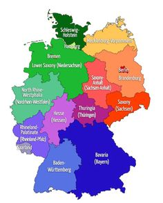 Map of GERMANY: 16 states - with both German/English names Genealogy Search, Family Genealogy, North Rhine Westphalia, English Names, German English, Family History Center, Genealogy Websites, Genealogy Humor, Genealogy Chart