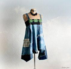 Patchwork Denim Women's Babydoll Dress Boho Clothing Hippie Chic Mori Girl Blue A-Line Dress Rustic Country Eco Friendly Clothes S M 'SIMONE