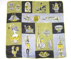 Vintage Novelty Handkerchief Jeanne Miller Mid Century Modern Design