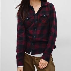 Aritzia TNA Banff Flannel Shirt Blue Plaid No flaws, sold out Aritzia Tops Button Down Shirts