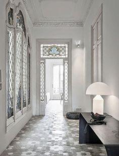 tile floors in Barcelona apartment, art nouveau glass, ceiling detail Art Nouveau Interior, Barcelona Apartment, Jugendstil Design, Decor Scandinavian, Home Fashion, Cheap Home Decor, Interior Design Living Room, Interior Inspiration, Home Remodeling