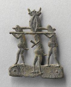 enseigne vers 1380 phallus anthropomorphes portants une vulve souvenir d'un bordel. France / sex / prostitute