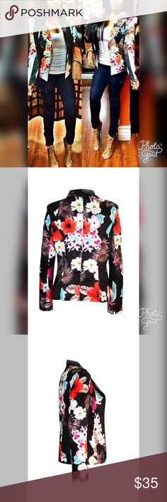Floral blazer ♥️ Brand new never worn: sizes large but fit more like a m/s the arm is a lil small..but I have big arms so it would fit you. Jackets & Coats Blazers
