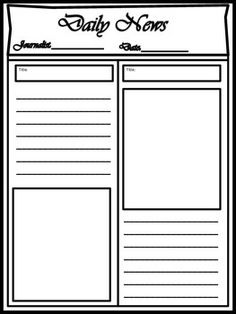 blank newspaper template for kids printable homework help pinterest newspaper graphic. Black Bedroom Furniture Sets. Home Design Ideas