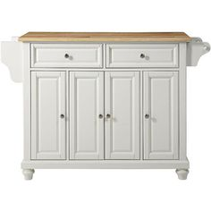 Crosley Cambridge White with Natural Top 4-Door Kitchen Island (490 CAD) ❤ liked on Polyvore featuring home, furniture, storage & shelves, sideboards, kitchen, brown, cabinets and storage, white buffet, storage buffet and white furniture
