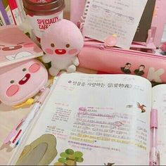 Image about pink in study by itsgoyangi on we heart it Korean Aesthetic, Pink Aesthetic, Aesthetic Rooms, Study Room Decor, Cute Desk, Pink Images, Kawaii Room, Study Space, Study Inspiration
