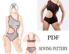 Sewing Pattern One shoulder cut out side Bodysuit Size S M Beginner Sewing Patterns, Knitting Patterns, Shoulder Cut, Dance Leotards, Ballroom Dance, Dance Dresses, Bodysuit, Swimsuits, One Piece