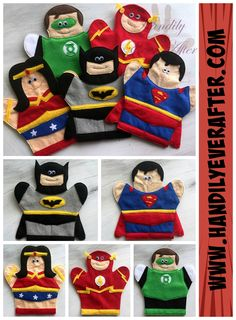Superhero Hand Puppets Set 2 (Completed Puppets)  Includes 5 ready made puppets: Batman, Superman, Wonder Woman, Flash, and Green Lantern