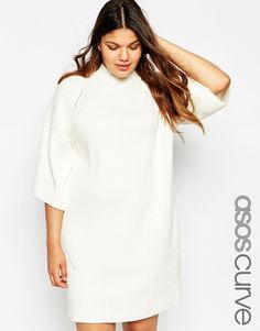 Image 1 of ASOS CURVE Sweater Dress with Wide Sleeve and Double Neck Detail