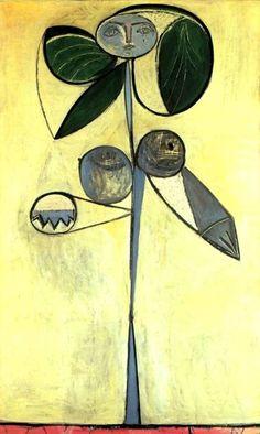 "Pablo Picasso - La femme-fleur (Françoise Gilot) ""Every child is an artist. The problem is how to remain an artist once he grows up. Pablo Picasso, Kunst Picasso, Art Picasso, Picasso Paintings, Picasso Flowers, Picasso Images, Francoise Gilot, Georges Braque, Art Moderne"