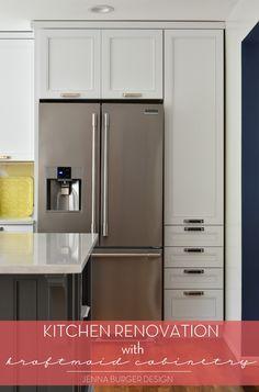 Kitchen Renovation + Cabinet Installation using Kraftmaid. Before & After @ www.jennaburger.com