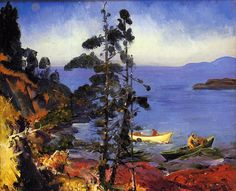 """George Bellows (American, 1882-1925), Evening Blue, 1916. Oil on panel, 45.72 x 55.88 cm. """