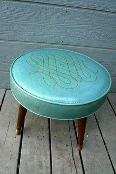 Vintage Mid Century Turquoise Vinyl Footstool