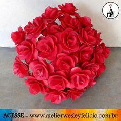 Buquê de Rosas em E.V.A - Atelier Wesley Felício #artesanato #crafts #handmade #feitoàmão #eva #Flores #rosas #vermelhas #buquê #euquefiz #artesmanuais #atelierwesleyfelicio #decoração
