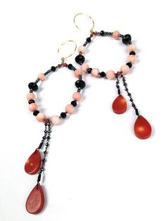 Inspired by the Beauty of Sunsets & Pink Shades. Red Coral, Pink, Flamingo, Beaded Necklace, Feminine, Bracelets, Unique, Silver, Gold
