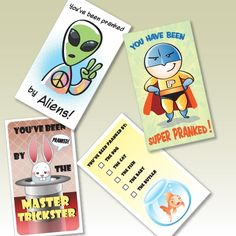 April Fool's Day:  Prank Cards  • Leave a calling card this April Fools' after you play a prank.  Download Prank Card Template.