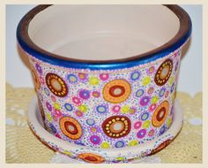 Handpainted Terra Cotta Pot with lots of dots