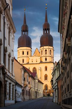 Basilica of St Nicholas in the old town of Trnava, Slovakia. - Buy this stock photo and explore similar images at Adobe Stock Bratislava, Ukraine, Take Me To Church, Reisen In Europa, Cathedral Church, Saint Nicholas, Photo Library, Birds In Flight, Old Town