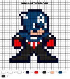 Captain America (Bucky) 8-bit Perler Bead Pattern