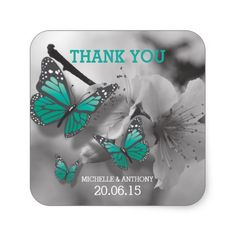 Blue Gray Blossom Butterfly Wedding thank you stickers.  Butterflies are in color, with the background in grey.