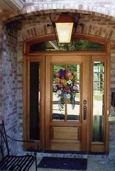 image result for wood front door sidelights and arch transom