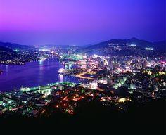 Nagasaki night views Nagasaki, Japan. Sasebo is close to Nagasaki where an atomic bomb was dropped in World War II.