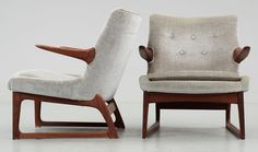 A stunning pair of easy armchairs designed by Fredrik Kayser for Vatne Lenestolfabrik, Norway circa 1960.