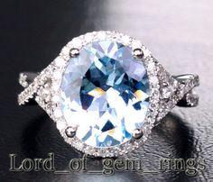 $1,189 Oval Aquamarine Engagement Ring Pave Diamond Wedding 14K White Gold,10x13mm
