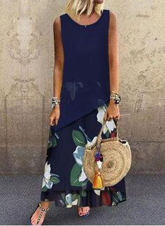 Casual Floral Round Neckline Maxi A-line Dress General Blue Vacation Dresses Polyester Casual Round Neckline Spring Maxi Summer A-line Dress Floral Sleeveless S M L XL XXL Dress Vestido Maxi Floral, Blue Floral Maxi Dress, Vacation Dresses, Buy Dress, Dresses For Sale, Dresses Online, Ideias Fashion, Casual Dresses, Trends