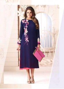 923c43cc0 Navy Blue Color Faux Georgette Embroidered Full Sleeves Designer Kurti Gown  Party Wear