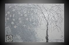 Acrylic Painting Abstract Tree large Canvas Art by acrylkreativ, $259.00