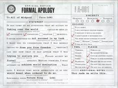 francesca-valentini:  A formal apology, from Loki to midgardians. (creditshere)   Almost died laughing at this…