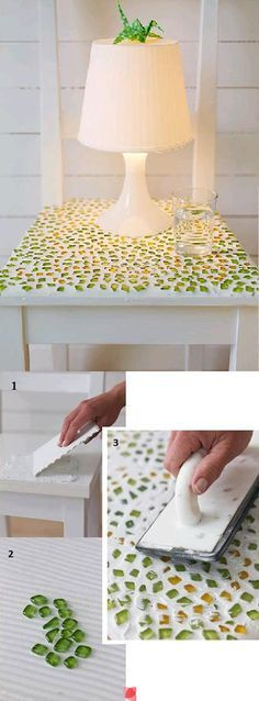 "DIY table top with mosaic tiles -- for the atrium? I really want to do something with mosaic tiles back there. I have a lot of these in my ""garden"""