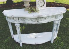 SHABBY CHIC WHITE TABLE FROM VINTAGE VISION FURNITURE IN HUDSON, NC.  SEE MORE AT:  http://www.facebook.com/vintagevisionstore