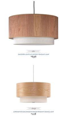 #CopyCatChicFind #2Modern Lights Up! Woody Pendant Lamp $636 - vs - #JCPenneys Studio Shade Pendant Ceiling Lamp $118